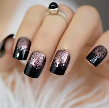 Uñas acrilicas negras plata