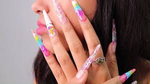 Acrylic nails  with butterflies