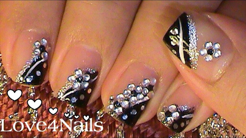 White Fake nails with design