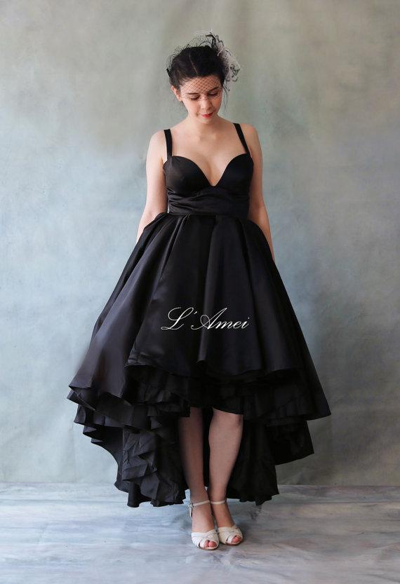 Wedding dresses short in front long in black